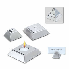 Natico 4 in 1 Silver Pyramid Votive Candle Holder, Salt & Pepper Shakers and Place Setting