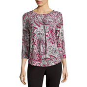Liz Claiborne® 3/4-Sleeve Pleated Top