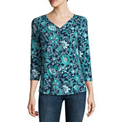 Henley shirts tops for women jcpenney for Liz claiborne v neck t shirts