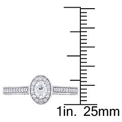 Womens 3/4 CT. T.W. Genuine Oval White Diamond 14K Gold Engagement Ring
