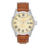 Claiborne Mens Silver-Tone Brown Leather Strap Watch