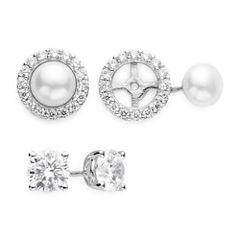 DiamonArt® Cubic Zirconia and Cultured Freshwater Pearl 2-pr. Stud Earring Set