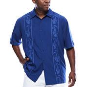 Havanera™ Embroidered Print Panel Short Sleeve Shirt