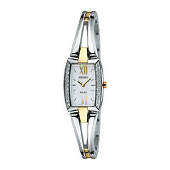 Seiko® Womens Crystal-Accent Two-Tone Stainless Steel Solar Watch SUP084