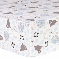 Trend Lab Igloo Friends Flannel  Crib Sheet