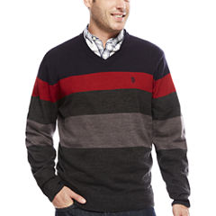U.S. Polo Assn. V Neck Long Sleeve Acrylic Pullover Sweater