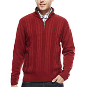 U.S. Polo Assn.® Long-Sleeve Cableknit Quarter-Zip Sweater