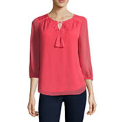 St. John`s Bay Embroidered Solid Peasant Top