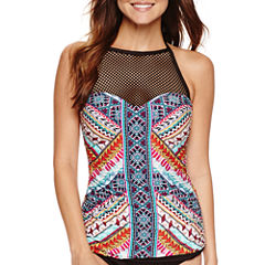 a.n.a Tribal Beat High Neck Tankini Swimsuit Top