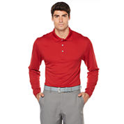 PGA Tour Long Sleeve Solid Mesh Polo Shirt