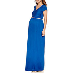Short Sleeve Maxi Dress-Maternity