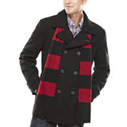 IZOD® Wool-Blend Peacoat with Scarf