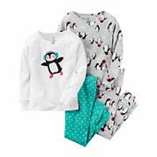 Carter's Girls 4-pc. Long Sleeve Kids Pajama Set-Baby 0-24 M