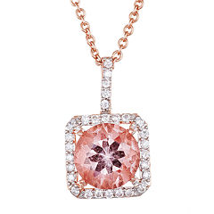 Simulated Morganite 18K Rose Gold Over Sterling Silver Pendant Necklace