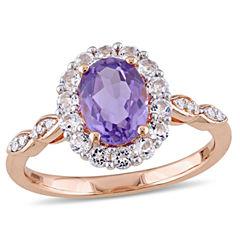 Womens Diamond Accent Genuine Purple Amethyst 14K Gold Cocktail Ring