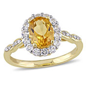 Womens Diamond Accent Yellow Citrine 14K Gold Cocktail Ring