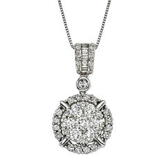 Womens 1 1/4 CT. T.W. White Diamond 14K Gold Pendant Necklace