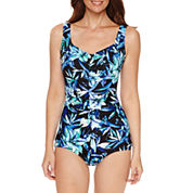 Azul by Maxine of Hollywood Floral One Piece Swimsuit