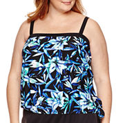 Azul by Maxine of Hollywood Solid Tankini Swimsuit Top-Plus