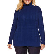 St. John`s Bay Long Sleeve Turtleneck Knit Pullover Sweater-Plus