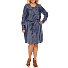 Liz Claiborne Long Sleeve Shirt Dress-Plus
