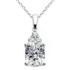 100 Facets by DiamonArt® Emerald-Cut Cubic Zirconia Pendant Necklace