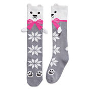 Polar Bear Fuzzy Knee High Sock