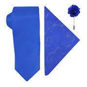 J. Ferrar Solid Tie, Pocket Square and Lapel Pin Set