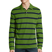 St. John's Bay® Long-Sleeve Striped Polo