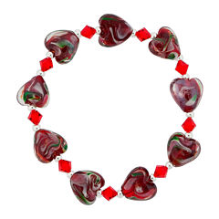 Dazzling Designs™ Red Glass Heart Bead Bracelet