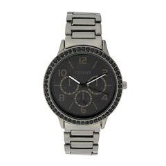 Geneva Womens Multifunction-Look Gunmetal Bracelet Watch