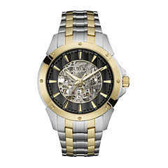 Bulova® Automatic Mens Two-Tone Stainless Steel Skeleton Watch 98A146