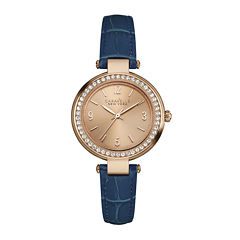 Caravelle New York® Womens Crystal-Accent Blue Leather Strap Watch 44L178