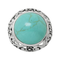 Simulated Turquoise Filigree Ring