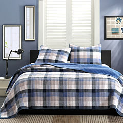 INK+IVY Maddox Blue Plaid Quilt Set