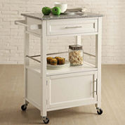 Brantley Granite Top Rolling Kitchen Cart with Towel Rack