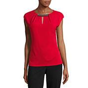 Liz Claiborne Sleeveless Keyhole Neck T-Shirt
