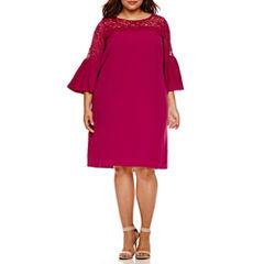 Boutique + Long Sleeve Sheath Dress-Plus