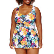 Azul by Maxine of Hollywood Solid Swim Dress- Plus
