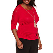 by&by 3/4 Sleeve Round Neck Knit Blouse-Juniors Plus