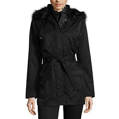 a.n.a® Long-Sleeved Faux-Fur-Trim Belted Parka