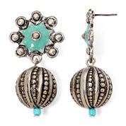 Aris by Treska Etched Silver-Tone Ball Drop Earrings