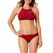 a.n.a® High-Neck Red Crochet Tankini Swim Top or Crochet Hipster Swim Bottoms
