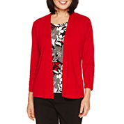Alfred Dunner Wrap It Up 3/4 Sleeve Layered Sweater