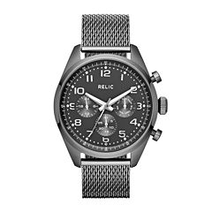 Relic® Collin Mens Gray Dial Gunmetal Stainless Steel Mesh Watch ZR15810