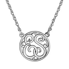 Personalized 15mm Round Cutout Monogram Necklace