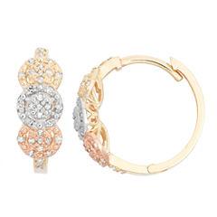 1/3 CT. T.W. White Diamond 10K Gold Hoop Earrings