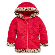 Pistachio Heart Quilted Animal-Print Jacket - Preschool Girls 4-6x
