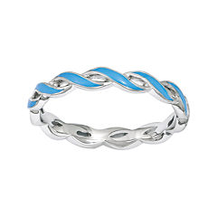Personally Stackable Blue Enamel Stackable Crossover Ring