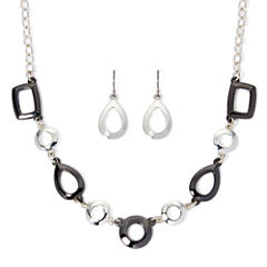 Liz Claiborne® Silver-Tone and Hematite Earring and Necklace Set